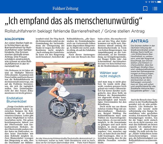 Rollstuhlfahrerin beklagt fehlende Barrierefreiheit / Grüne stellen Antrag (Kinzigtal Nachrichten)
