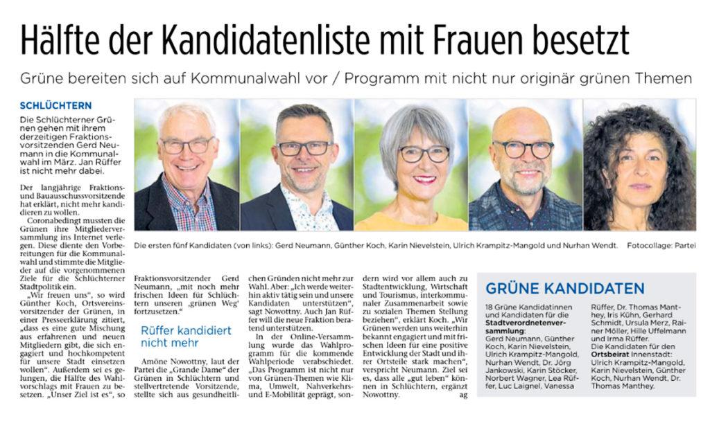 Kommunalwahl 2021 – Hälfte der Kandidatenliste mit Frauen besetzt (Fuldaer Zeitung)
