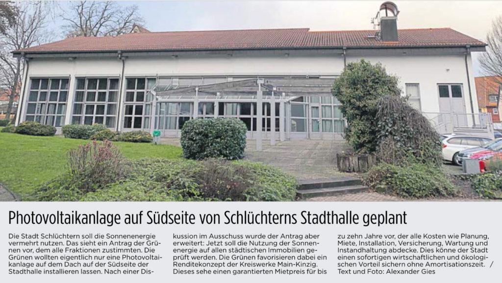 Photovoltaikanlage auf Südseite von Schlüchterns Stadthalle geplant (©Fuldaer Zeitung)