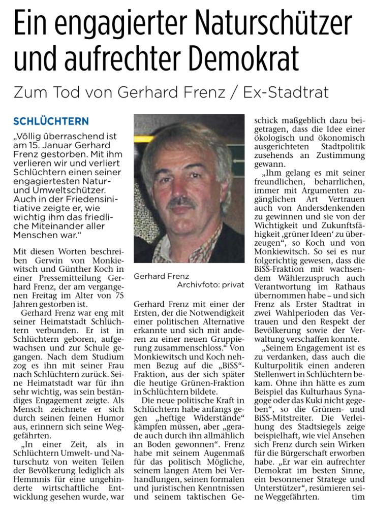 Nachruf zum Tod von Gerhard Frenz