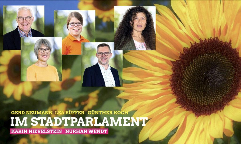 Unser grünes Team im Stadtparlament.