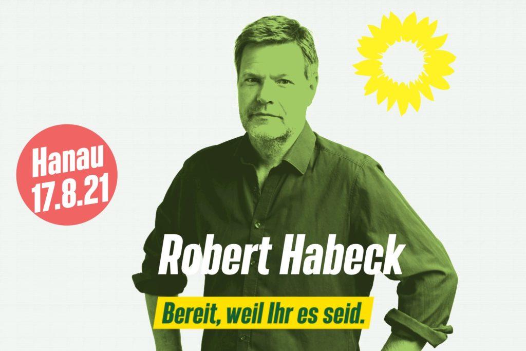 +++ Robert Habeck unterwegs in Hessen – auf dem Marktplatz in Hanau +++